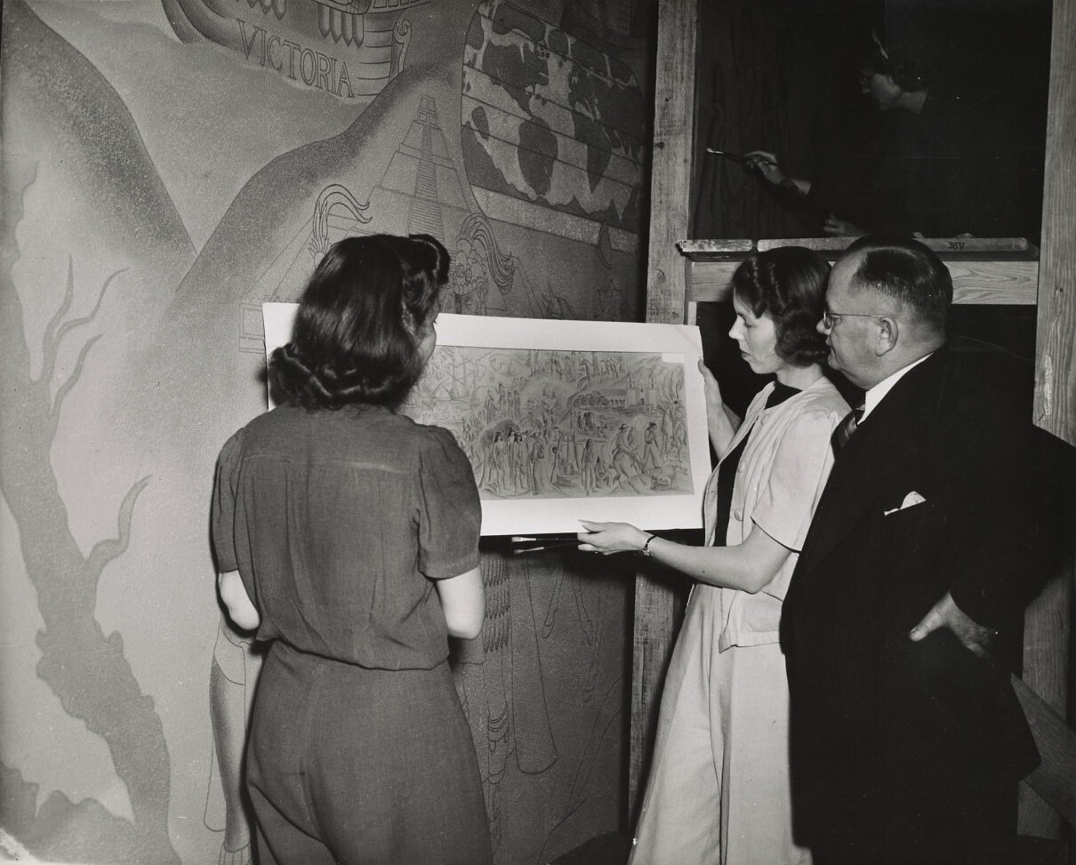 Lundeberg presenting sketches for the WPA mural at Venice High School.