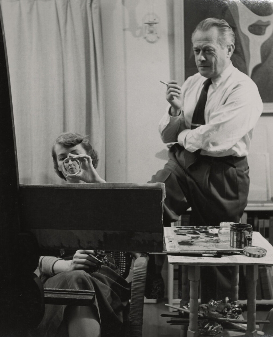 Helen Lundeberg and Lorser Feitelson in their studio on Ardmore Avenue, Los Angeles, 1949
