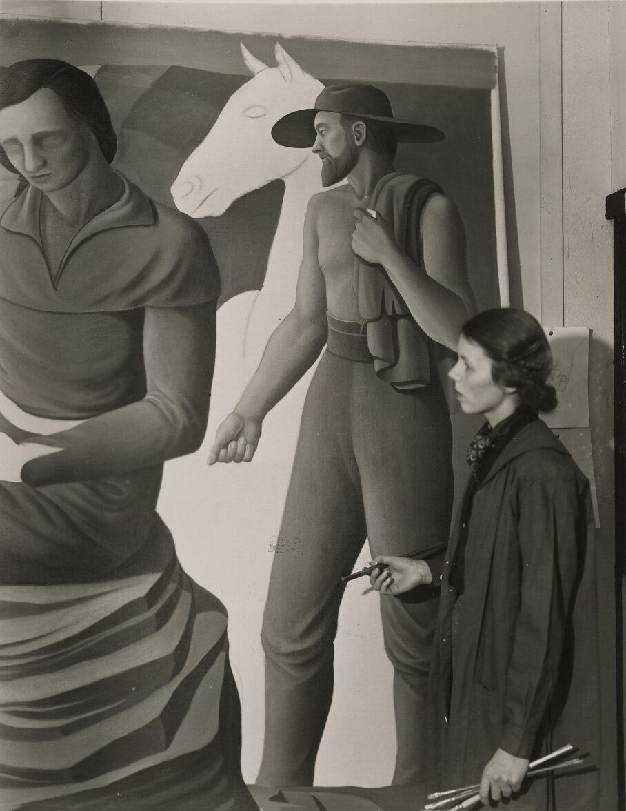 Lundeberg at work on a WPA mural, circa 1940.