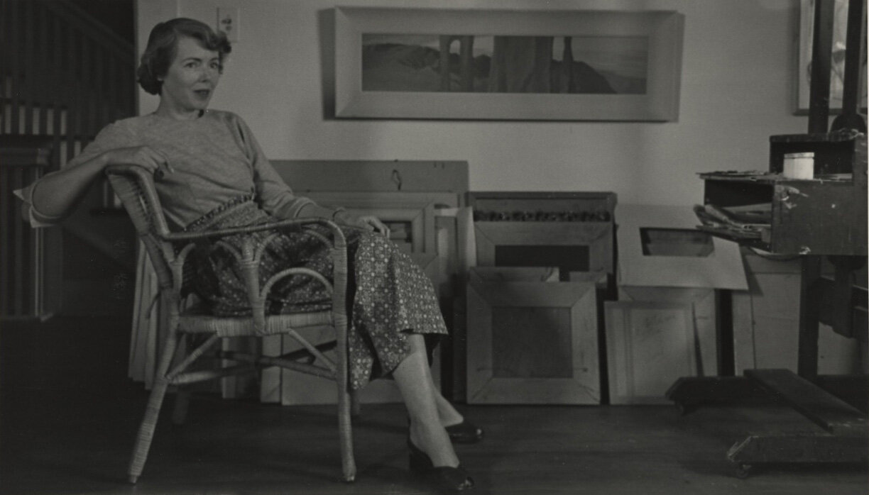 Lundeberg in her studio on Ardmore Avenue, Los Angeles, October 1950.