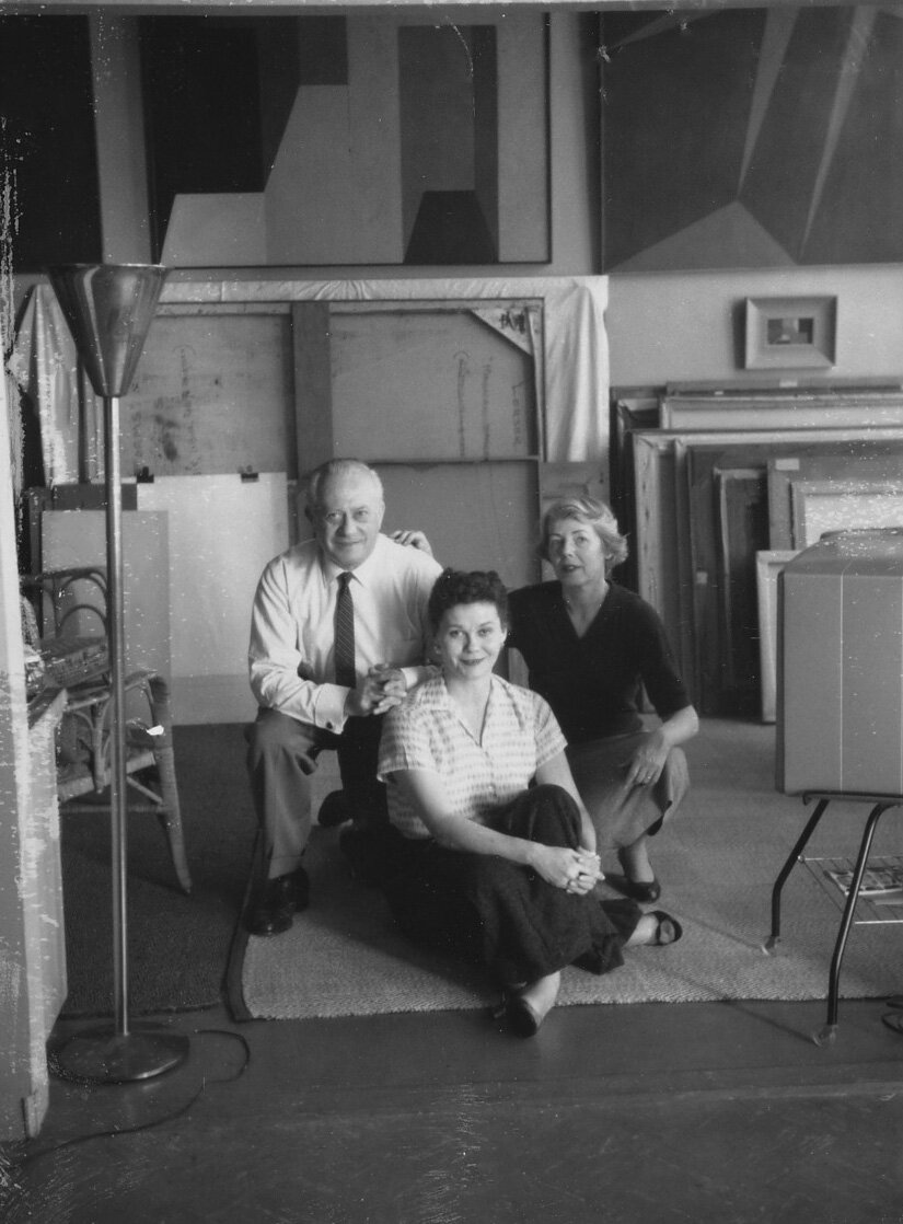Lorser Feitelson, Marguerite, and Helen Lundeberg in Feitelson's studio, 1957.