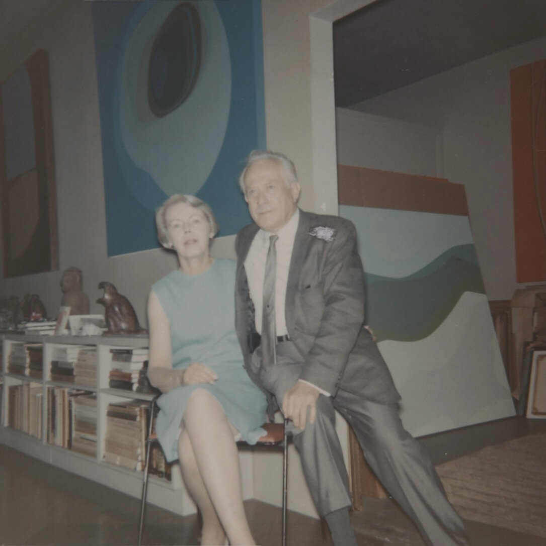 Lundeberg and Feitelson in front of Lundeberg's paintings, July 26, 1966.