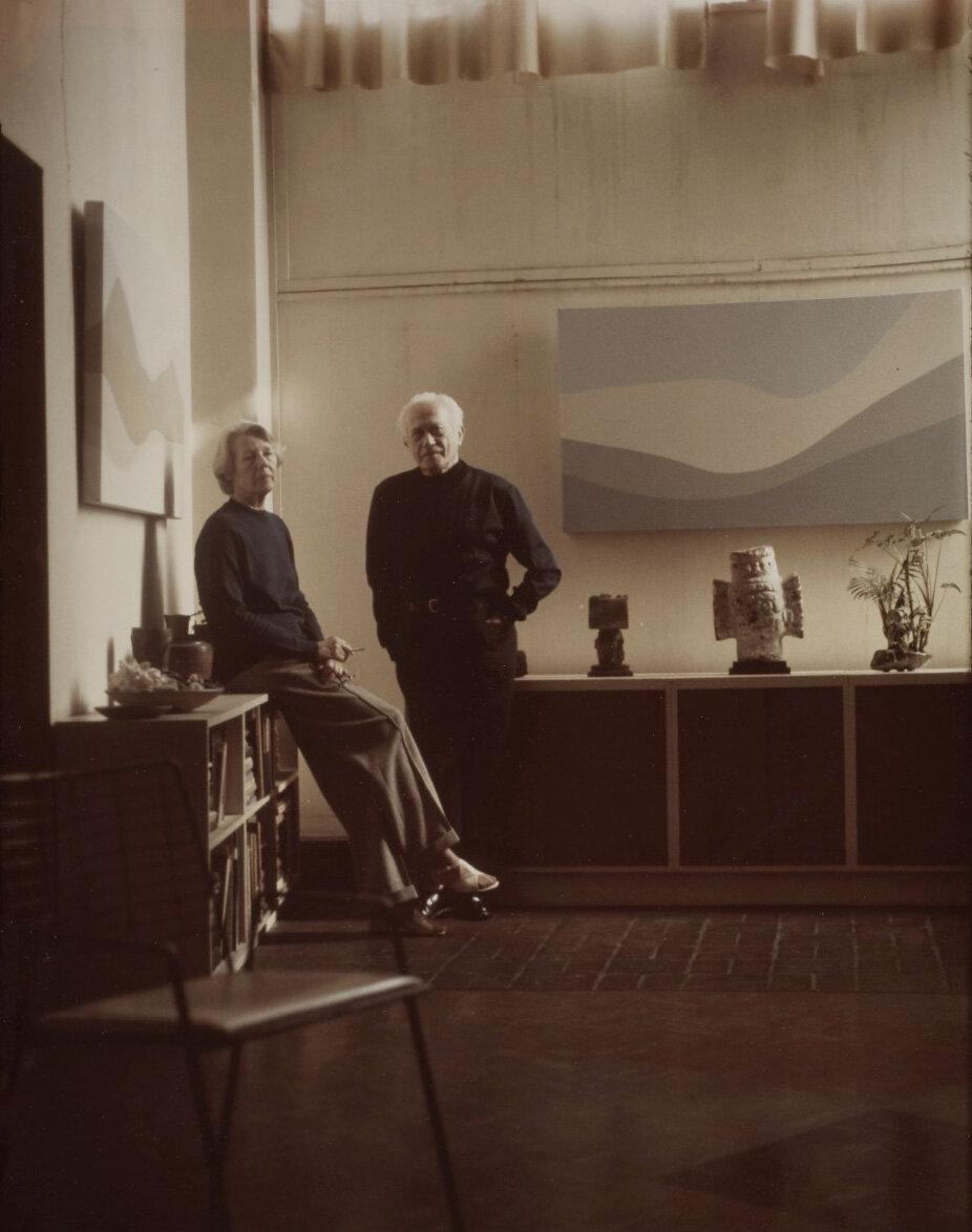 Helen Lundeberg and Lorser Feitelson in their studio, June 1974.