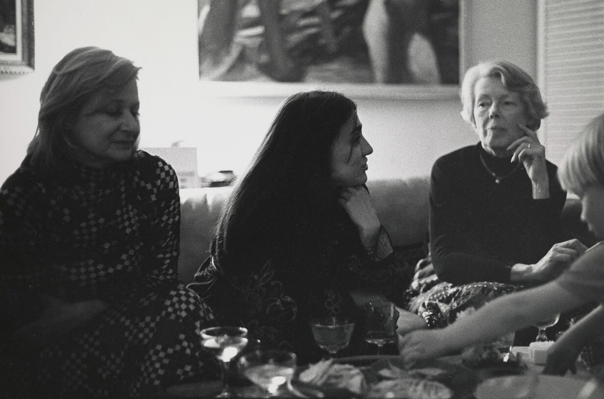 Jale Durgun and Helen Lundeberg at a celebration for Durgun's MFA, 1973.
