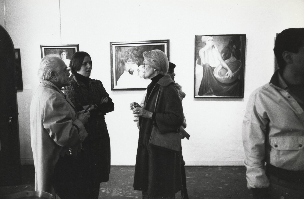 Feitelson and Lundeberg attend an opening for Winslow and Lebow at 7th Street Gallery, 1978.