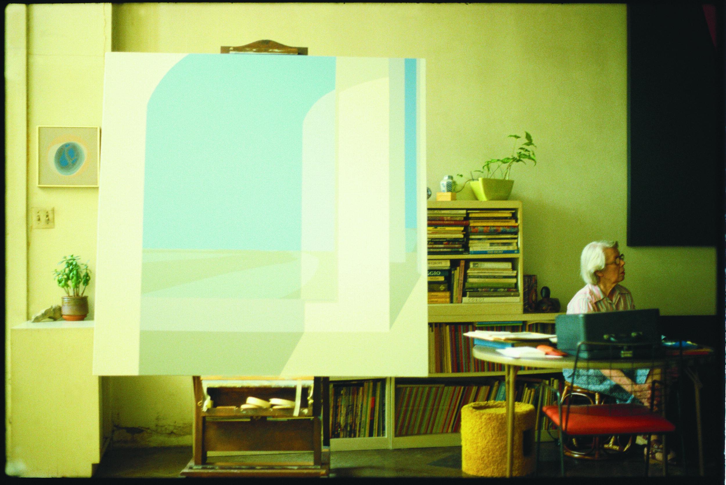 Helen Lundeberg in her studio, circa 1982