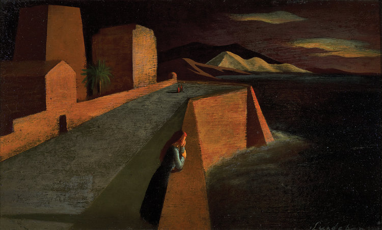 Dreaming , 1942 oil on carton 7 5/8 x 12 1/2 inches; 19.4 x 31.8 centimeters  Private Collection