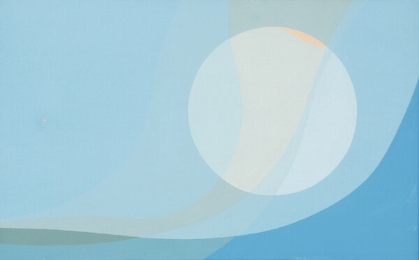 Moonscape , 1966 acrylic on canvas,  10 x 16 inches; 25.4 x 40.6 centimeters  Laguna Art Museum
