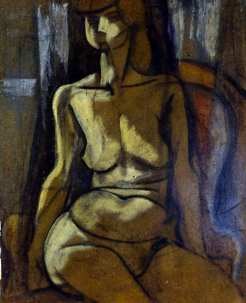 Seated Nude , 1920-1921  oil on board 29 x 22 1/2 inches; 73.7 x 57.2 centimeters
