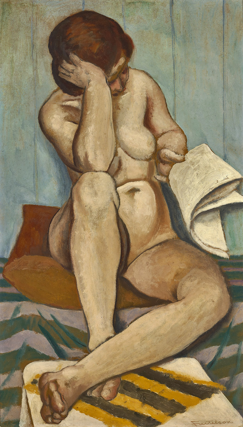 Nude Girl Reading , 1923  oil on board 28 x 16 inches; 71.1 x 40.6 centimeters