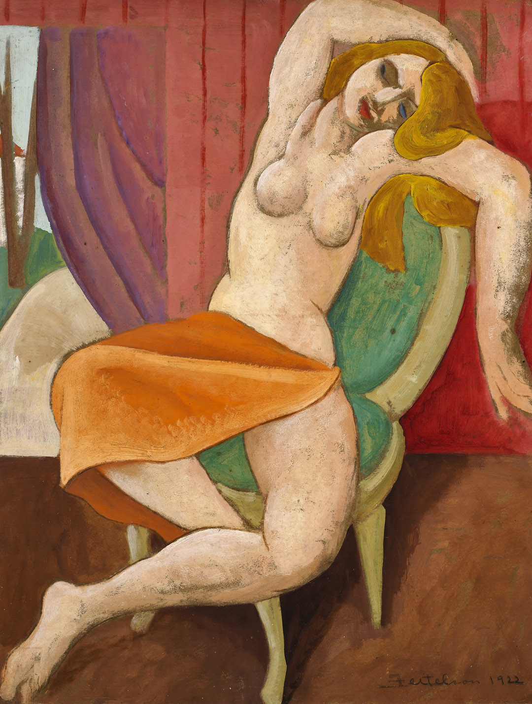 Untitled (Seated Figure) , 1922  oil on board 24 x 18 1/4 inches; 61 x 46.4 centimeters
