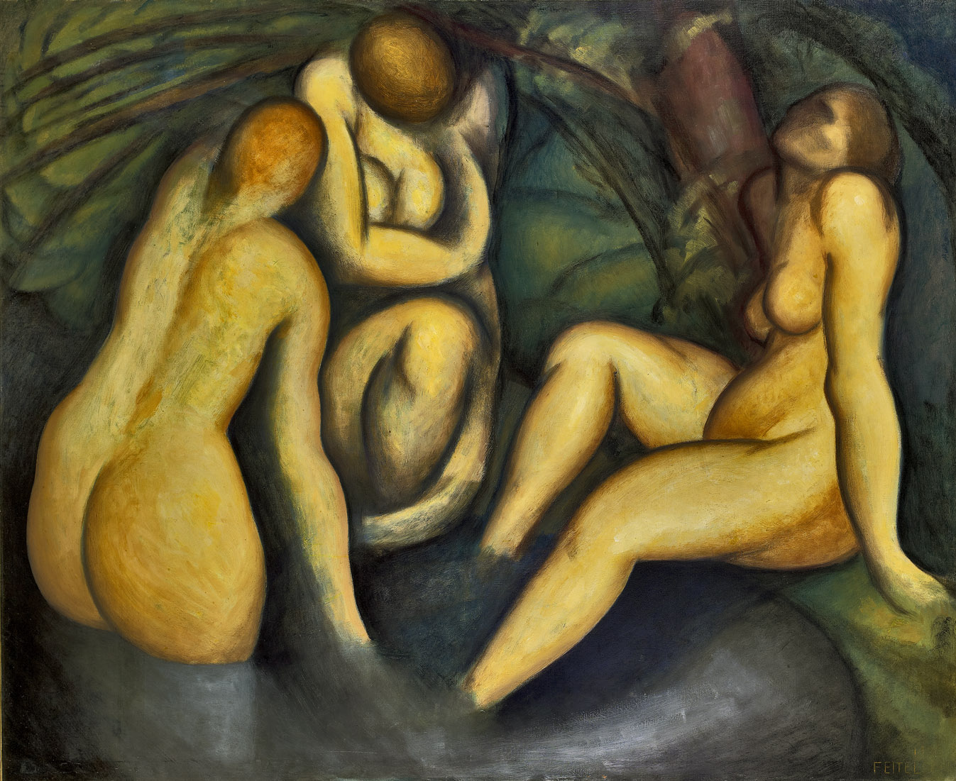 Bathers , 1920  oil on canvas 58 x 72 inches; 147.3 x 182.9 centimeters