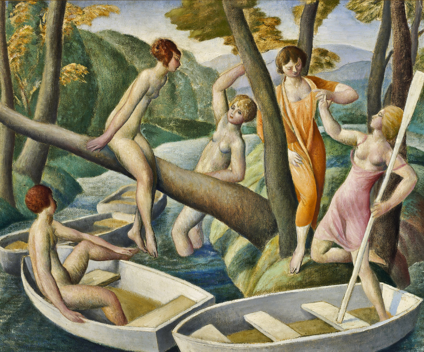Boaters , 1924  oil on canvas 20 x 24 inches; 50.8 x 61 centimeters