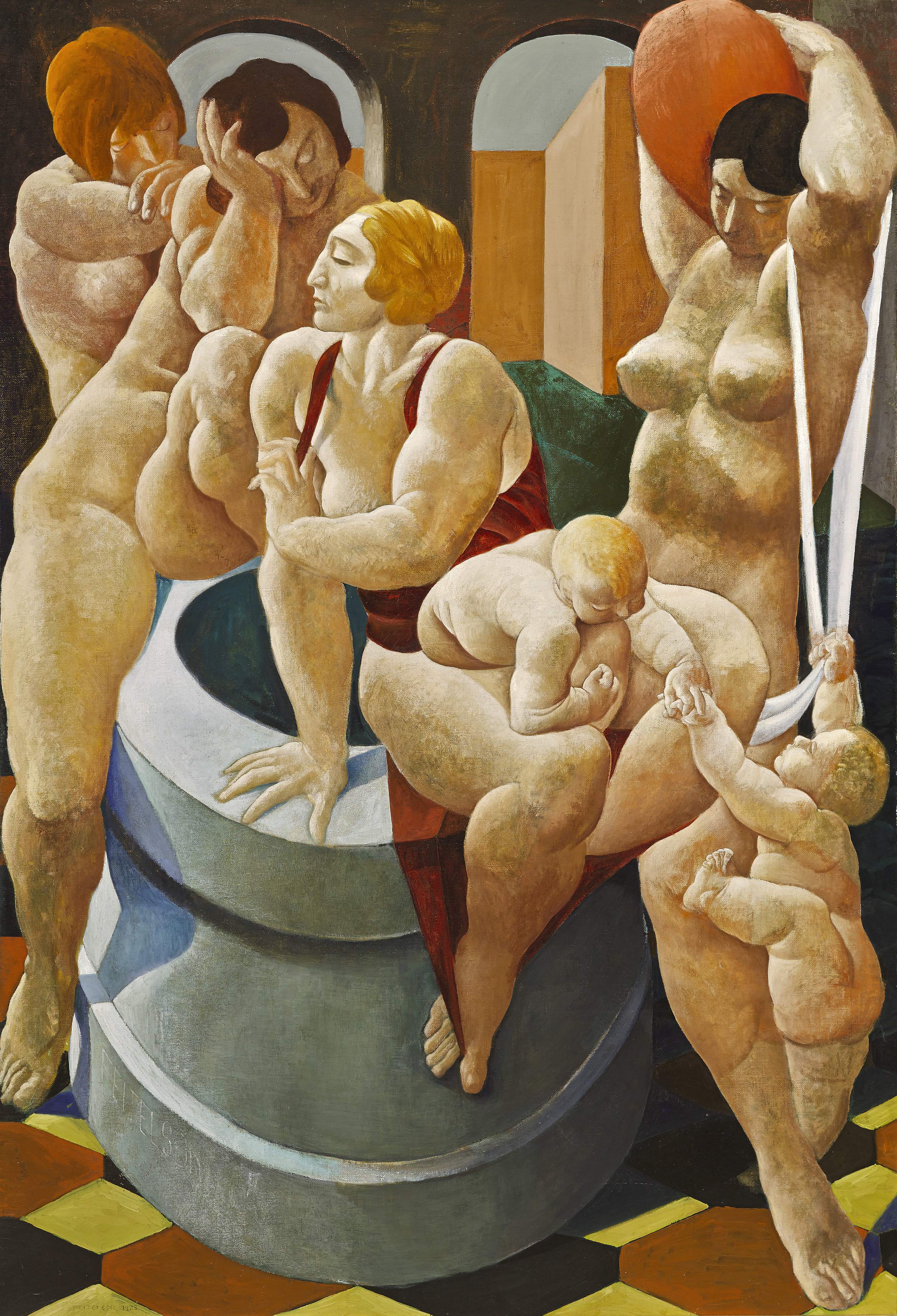 The Fountain , 1923  oil on canvas 80 x 54 inches; 203.2 x 137.2 centimeters