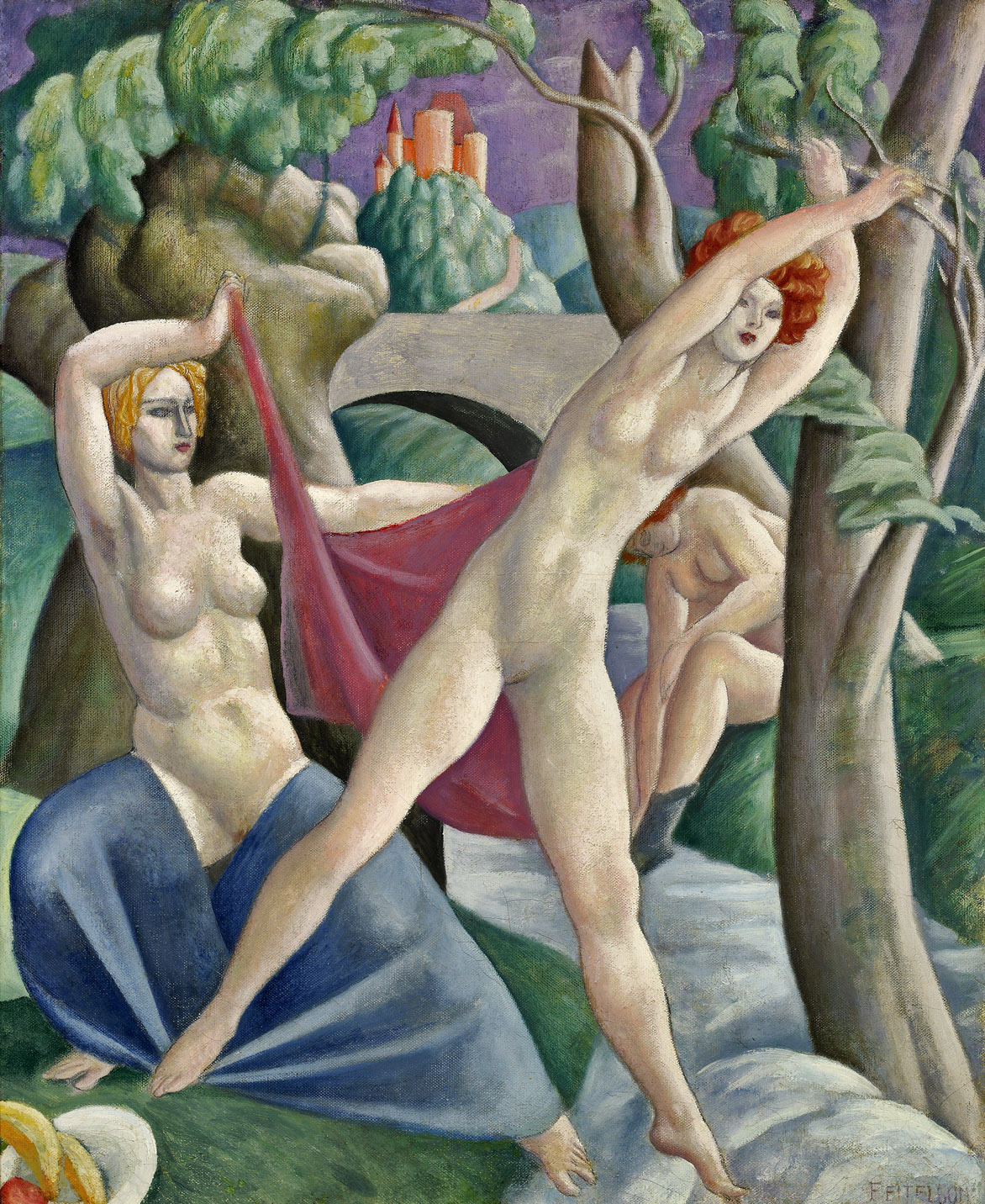 Figures in the Woods , 1924  oil on canvas 24 x 20 inches; 61 x 50.8 centimeters
