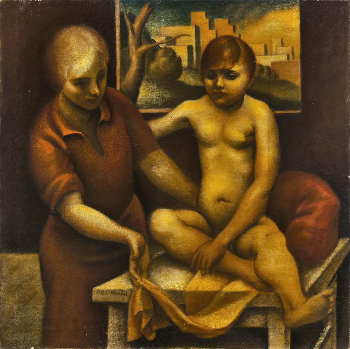 Mother and Child , 1926  oil on canvas 36 x 36 inches; 91.4 x 91.4 centimeters