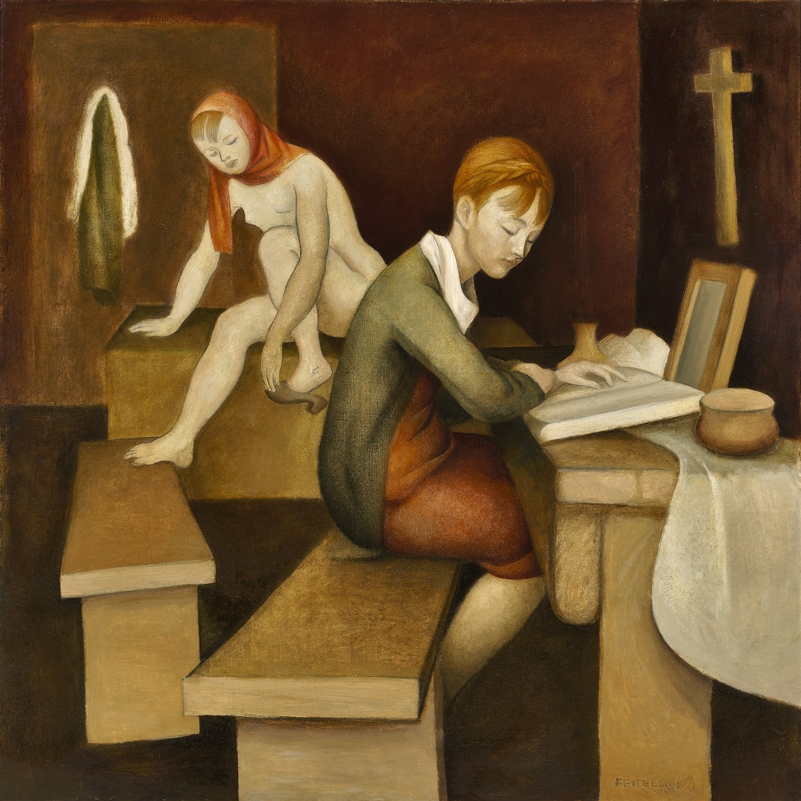 Peasant Girls , 1927  oil on canvas 36 x 36 inches; 91.4 x 91.4 centimeters