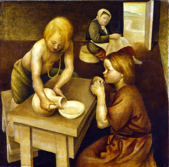 Two Peasant Children , 1927  oil on canvas 36 x 36 inches; 91.4 x 91.4 centimeters