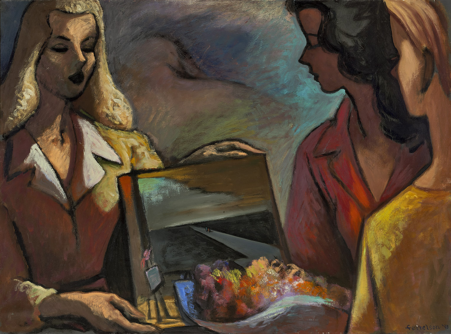 Three Girls , 1943  oil on canvas 30 x 40 inches; 76.2 x 101.6 centimeters