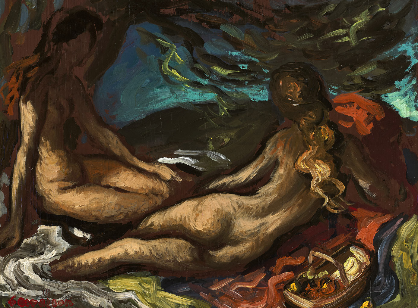 Two Reclining Nudes , 1943  oil on board 10 x 13 1/4 inches; 25.4 x 33.7 centimeters