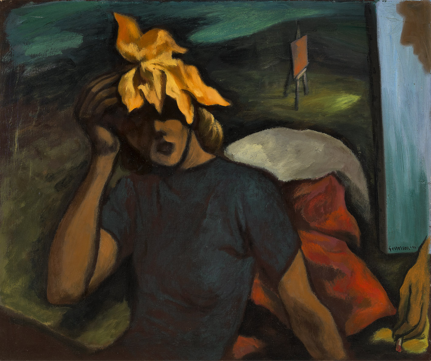 The Leaf , 1944  oil on canvas 35 x 41 inches; 88.9 x 104.1 centimeters