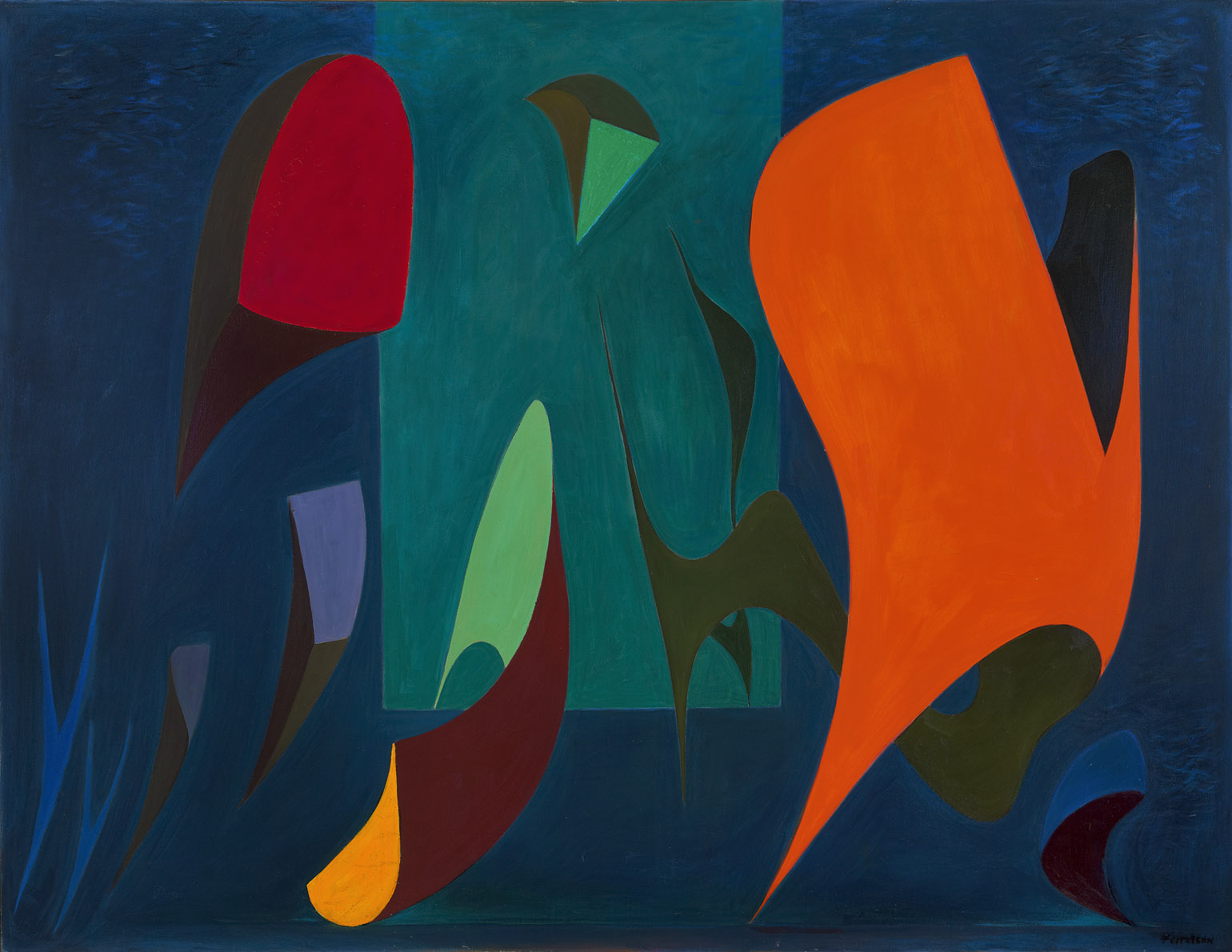 Magical Forms , 1945  oil on canvas 46 x 60 inches; 116.8 x 152.4 centimeters
