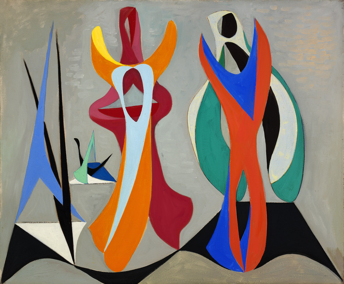 Magical Forms , 1945  oil on canvas 31 x 37 x 2 inches; 78.7 x 94 x 5.1 centimeters