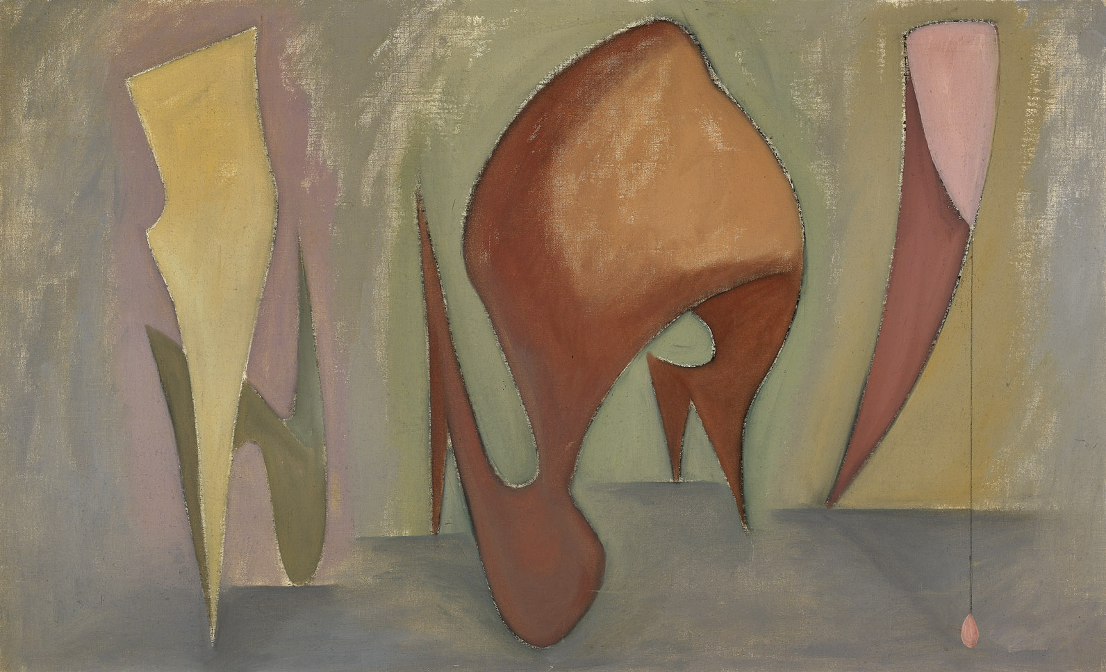 Magical Forms , 1945  oil on canvas 29 x 45 inches; 73.7 x 114.3 centimeters