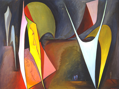 Untitled, Magical Forms , 1945  oil on canvas 30 x 40 inches; 76.2 x 101.6 centimeters