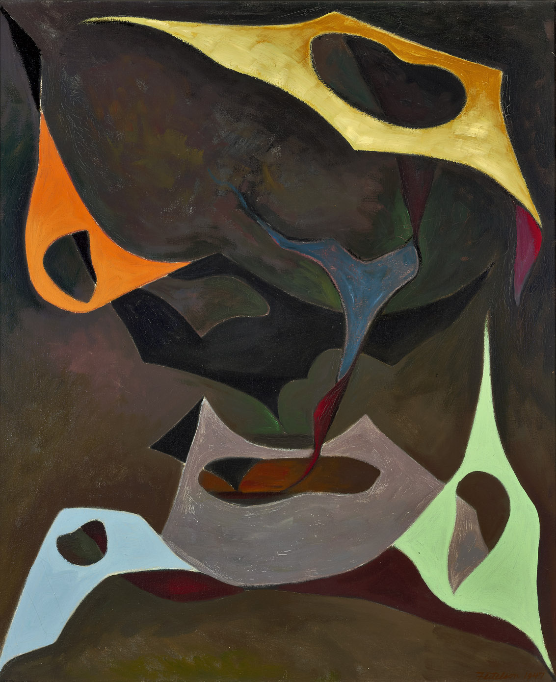 Magical Forms , 1947  oil on canvas 36 x 30 inches; 91.4 x 76.2 centimeters