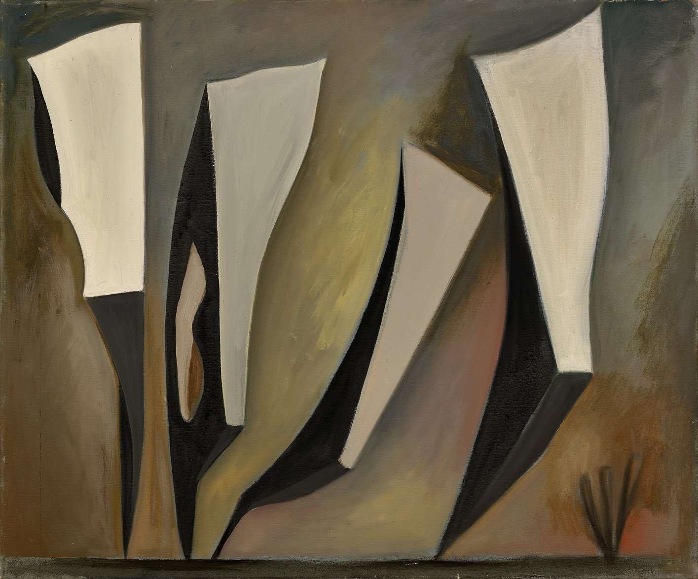 Untitled, Magical Forms , 1947  oil on canvas 30 x 36 inches; 76.2 x 91.4 centimeters