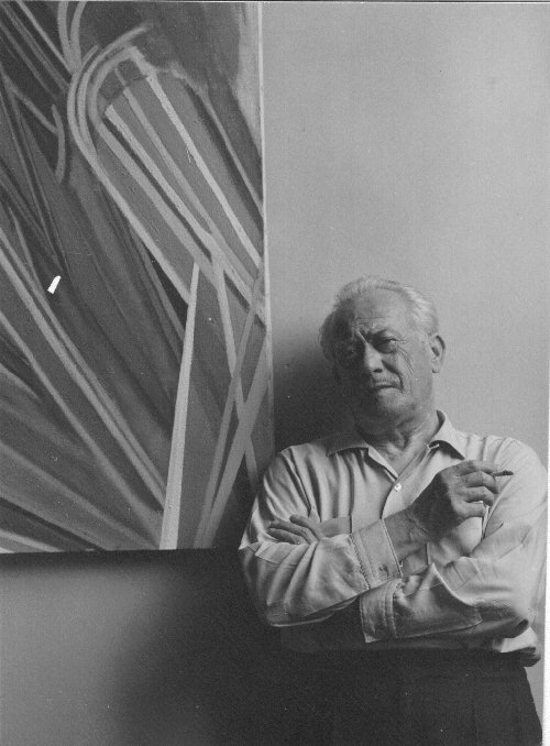 Lorser Feitelson with hardedge painting, September, 1959