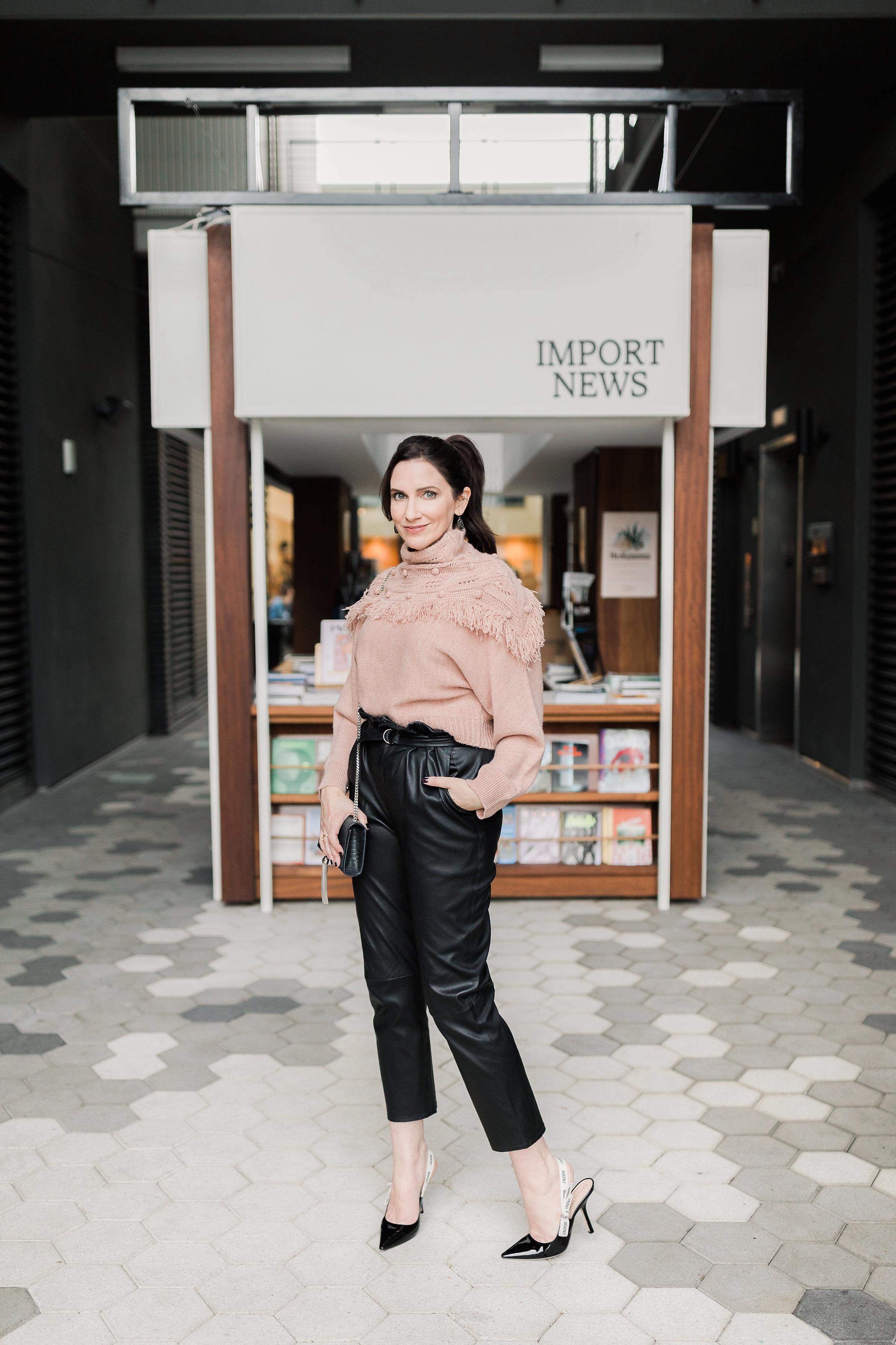 Rachel Zoe Peach Fringe Sweater & Paperbag pant