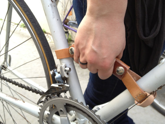 3. This bike frame handle from  Bush Gear Leather Works  would have be extremely useful when I lived in a third floor apartment!