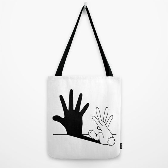 Rabbit Hand Shadow Tote $22  @  Society6
