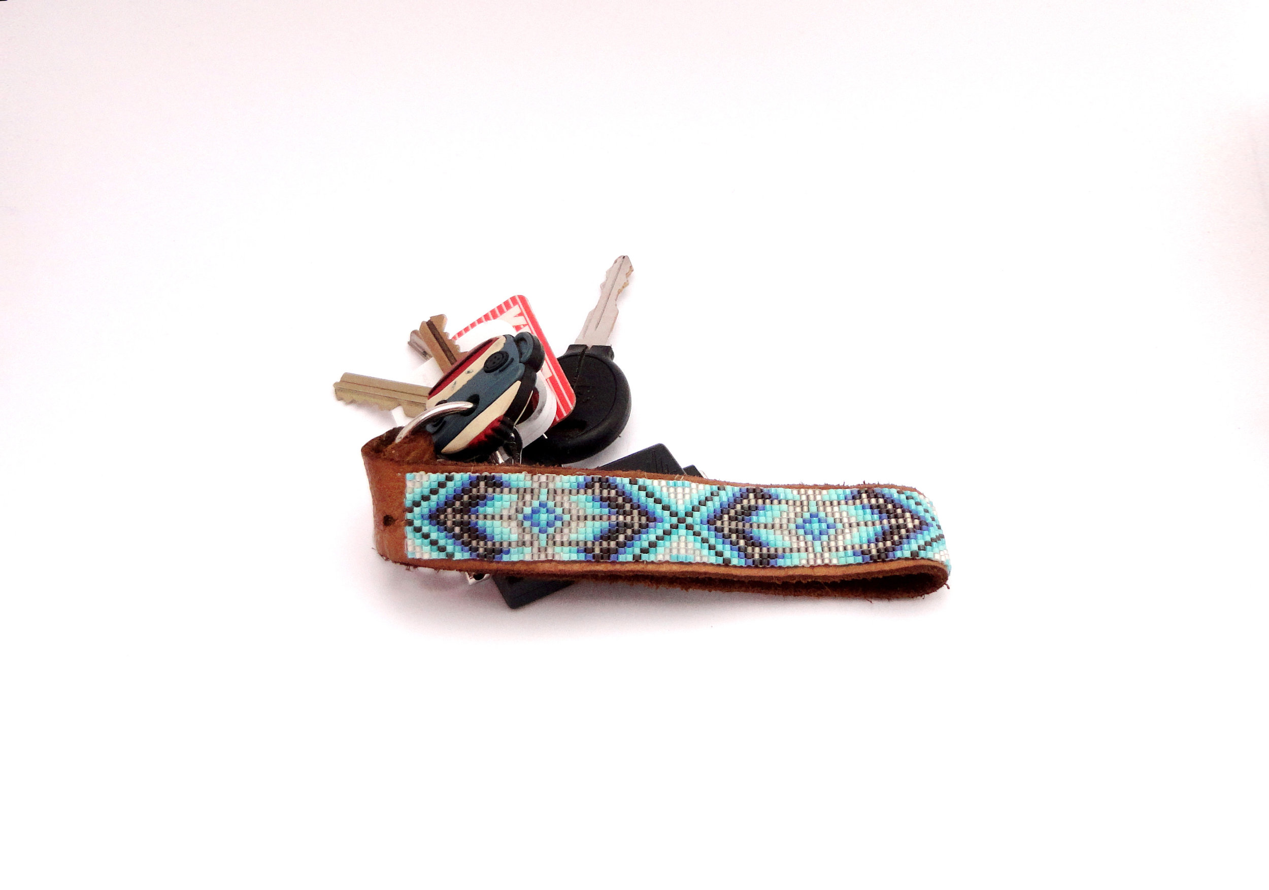 My finished square stitch beaded keychain.