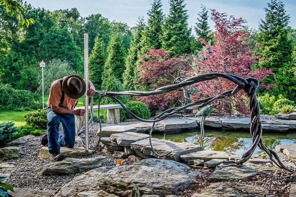 Garden sculpture, installation day