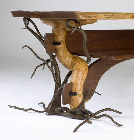 """Winter's Table""  (2009)  Forged and carved steel, black walnut, bittersweet, ebony."