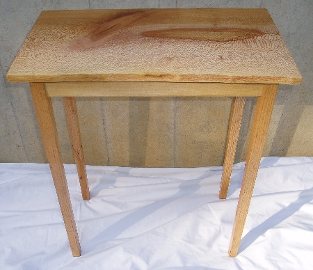 End Table .    Sycamore and red oak.   Susan Hankin 2008
