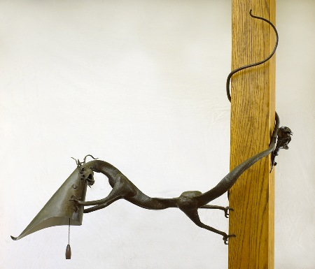 Dragon Lamp  Forged steel- made from 13 recycled farrier's rasps.  Sold