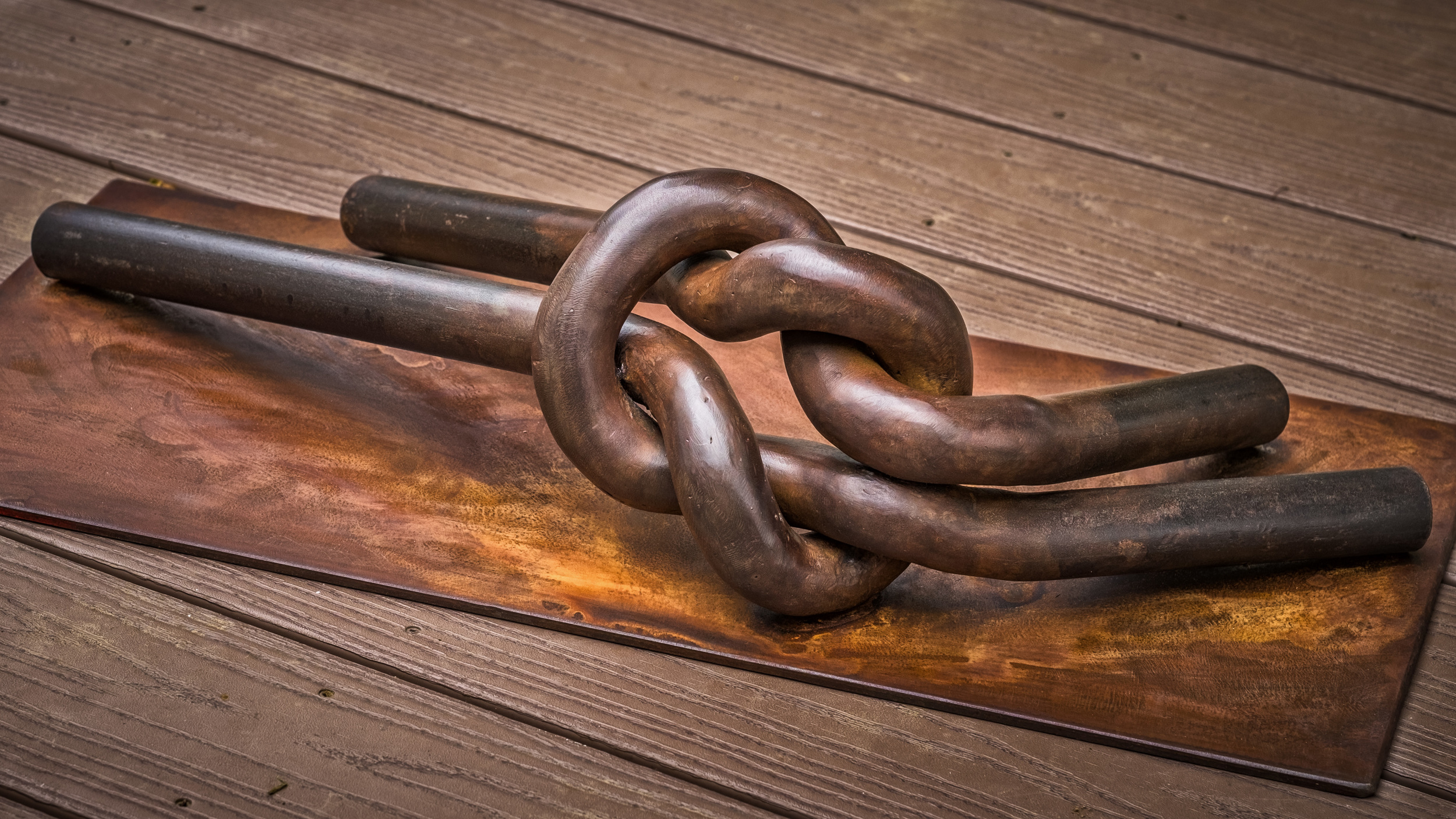 """""""Just Knot Ready"""" Forged pipe, rust patina and wax."""