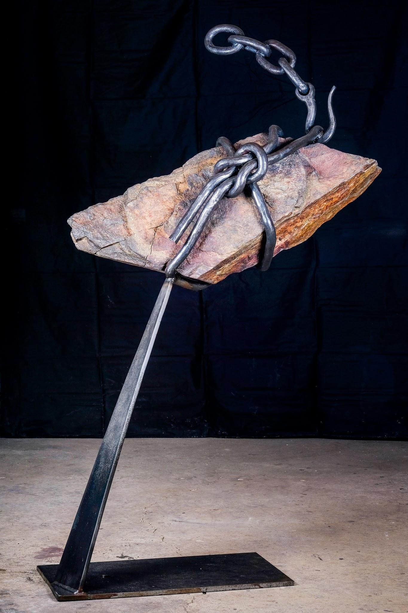 """Balance"" Forged steel, stone. 60"" x 30"""