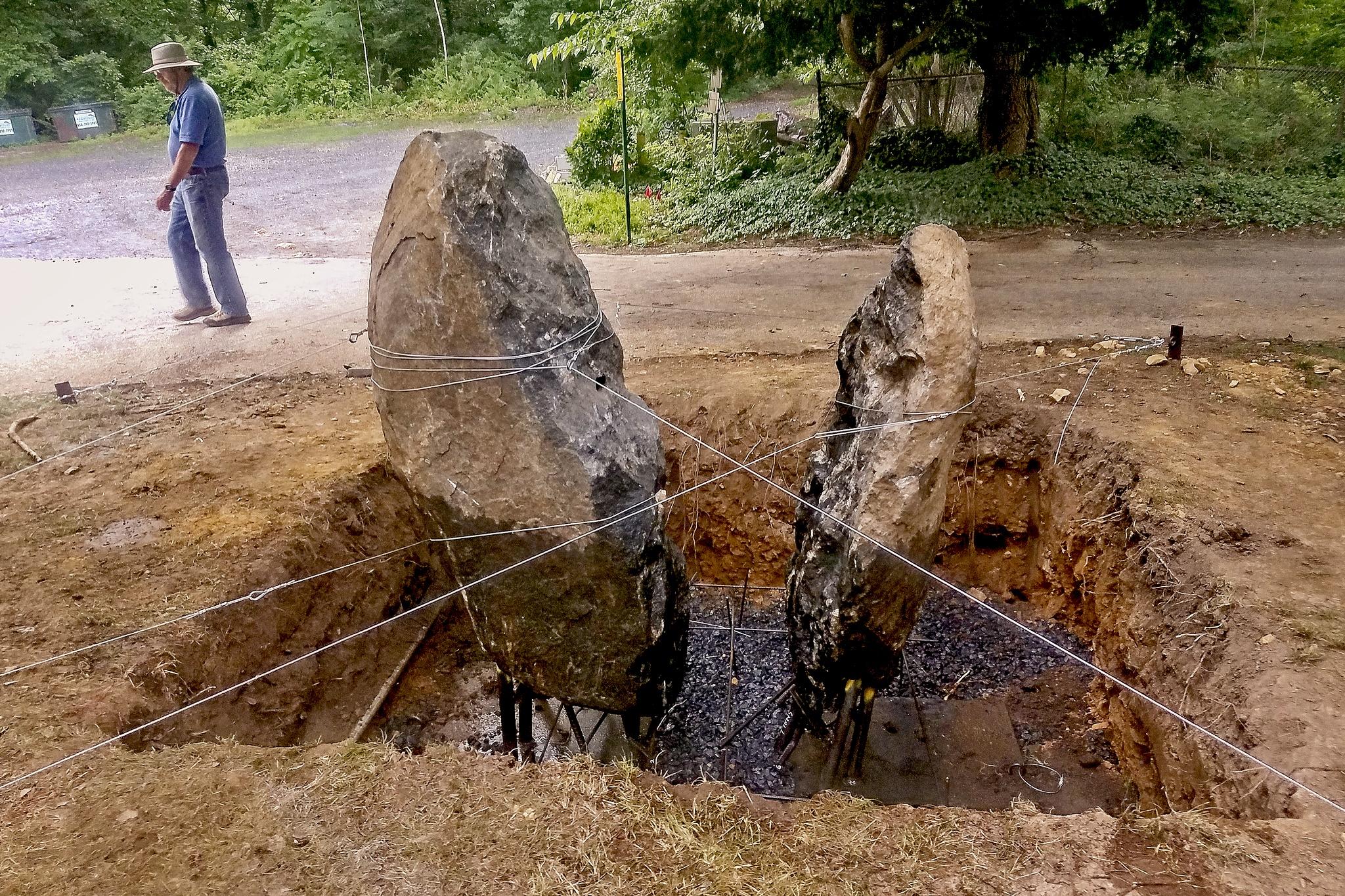 The rocks prior to the concrete base pour.