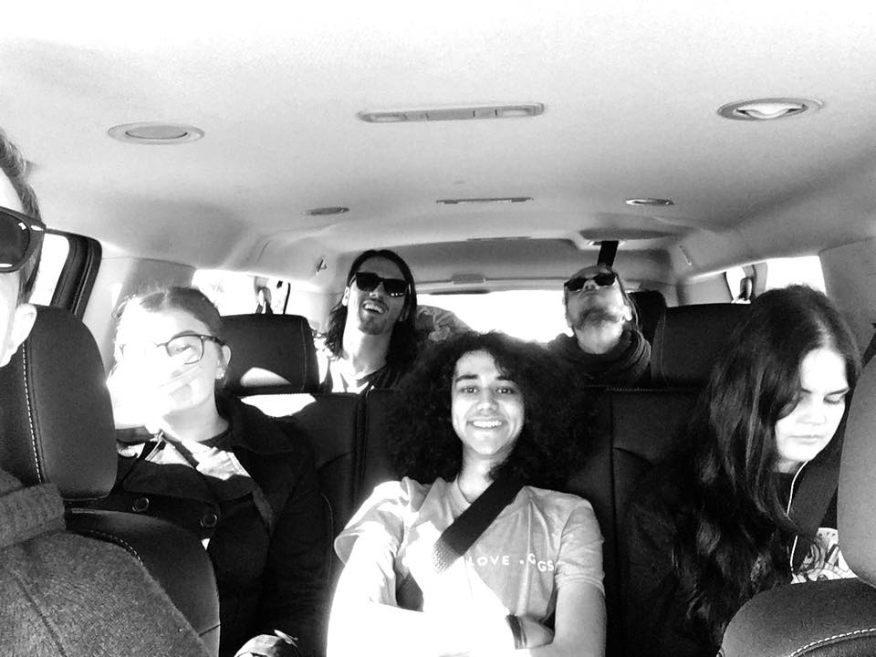 Enroute to Tupelo, Mississippi USA. From left to right: Caleb James (Queensland Conservatorium Griffith University lecturer), MØNIQUE, Elliott Hahn, Josh King, Luke Pauley and Rachel Fels.