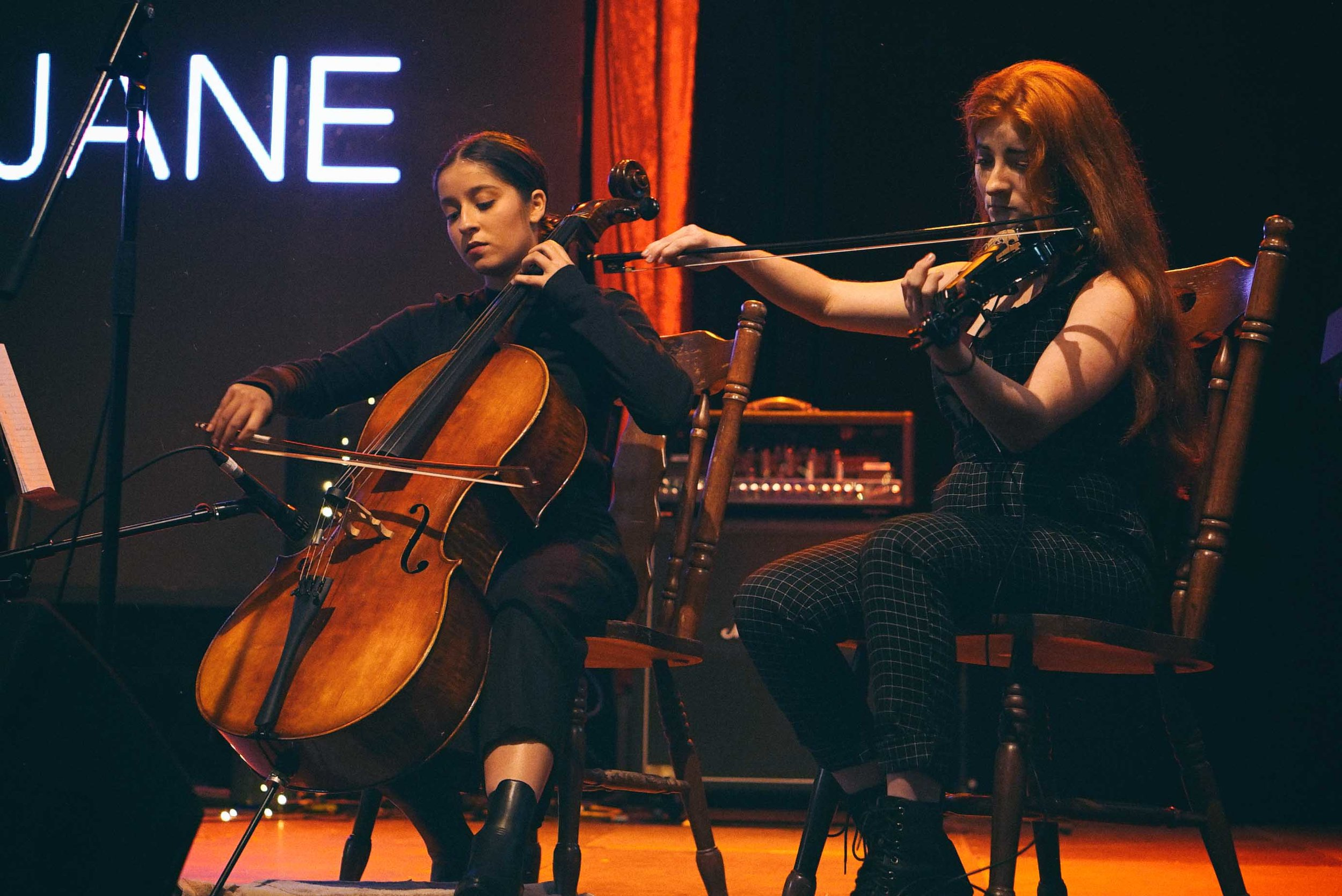 String duo performing with Emily Jane at NightQuarter 2018