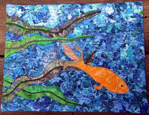 The Grumpy Goldfish-- Quilt inspired by a painting by Pam's daughter. Click the picture to learn more, and listen to episode 178 of Hip to Be a Square to hear Pam talk about this piece.