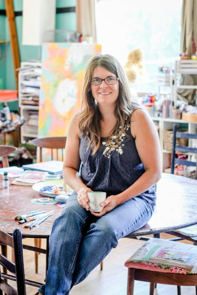 Suzanne at home in her studio