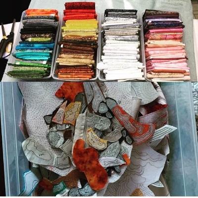 This quilt-in-progress has 153 fabrics in it!