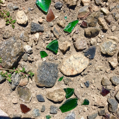 Trash and Treasure-- broken glass glinting in the sunlight along the Norcross train tracks