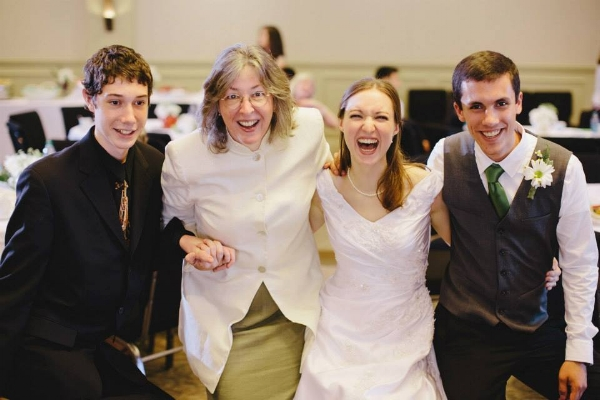 Brenda and her younger son, Ben (far left), at my wedding